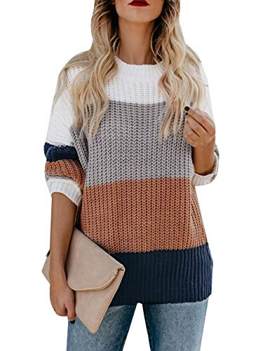 MEROKEETY Women's Crew Neck Long Sleeve Color Block Knit Sweater Casual Pullover Jumper Tops Brown