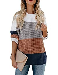 Women's Crew Neck Long Sleeve Color Block Knit Sweater Casual Pullover Jumper Tops