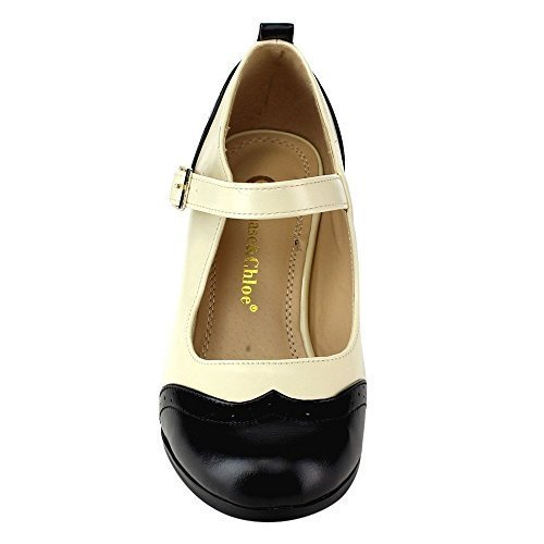 Chloe Black Shoes (Chase & Chloe Dora-2 Women's Round Toe Two Tone Mary Jane Pumps (7.5 B(M) US, Black/White))