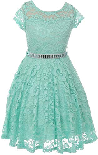 Little Girls Illusion Floral Lace Top Stone Belt Party Holiday Flower Girl Dress Mint 4 -