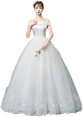Zhengowen Hochzeitskleid Frauen Schulterfrei Spitze Applique Ballkleid Brautkleid Vintage Schlank Croset Satin Brautkleid Kleid Brautkleid (Farbe : White, Size : XXL)