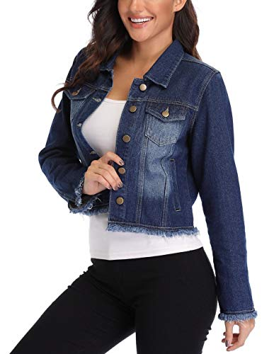 (MISS MOLY Jean Jacket Women's Frayed Washed Button Up Cropped Denim Jacket w 2 Side Pockets)