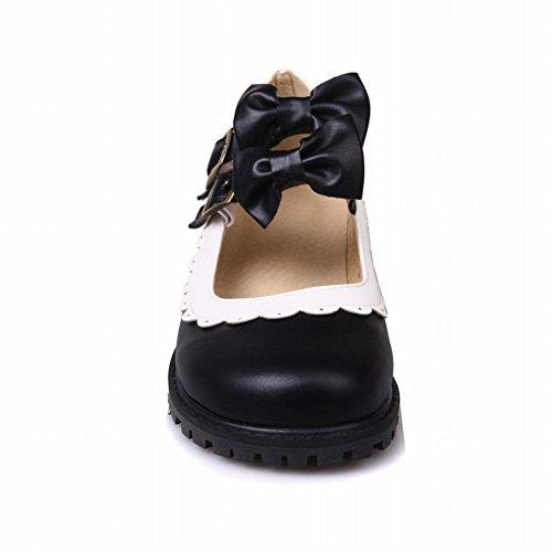 Charm Foot Womens Lolita Cosplay Bow Flat Mary Jane Shoes Black 7JXxyJtK