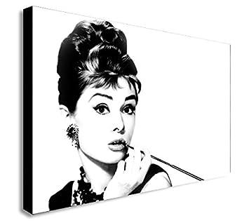 Amazonde Audrey Hepburn Leinwand Schwarz Und Weiß Kunstdruck Holz