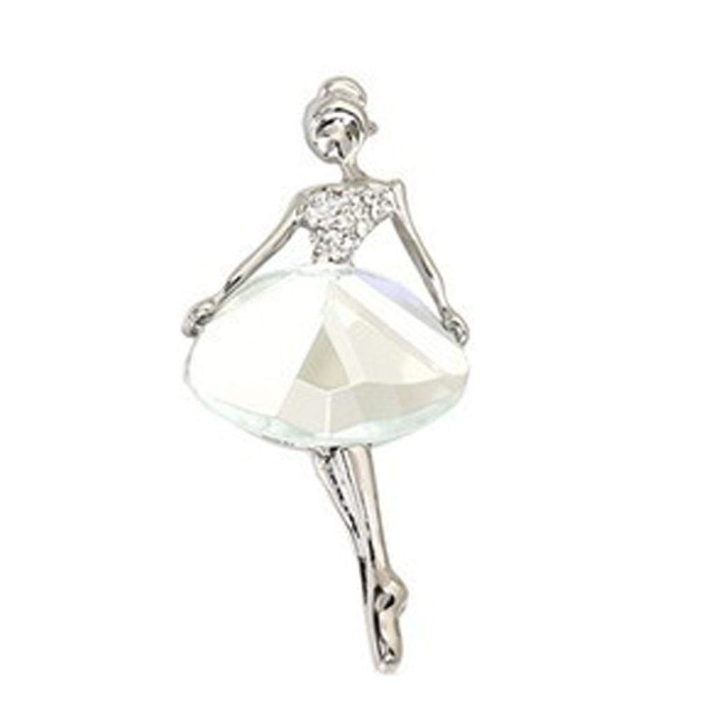 Gbell Fashion Ballet Girl Crystal Brooches,Enamel Alloy Colorful Girls Pins Brooch for Party ,Birthday, Valentine's Day Jewelry Gifts, Rose Gold White (White)