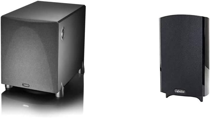 Definitive Technology ProSub 800 - High Output Compact 300W Powered Subwoofer | Heart-thumping Sound for Home Theater System & ProMonitor 800-2-Way Satellite or Bookshelf Speaker