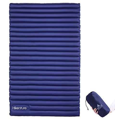 HIKENTURE Double Sleeping Pad - 2 Person Camping Mattress Inflatable Air Mat with Built-in Foot Pump - Light and Compact - for Backpacking, Self-Driving Tour, Hiking,Tent (Navy Foot Pump) (One Person Air Mattress Camping)