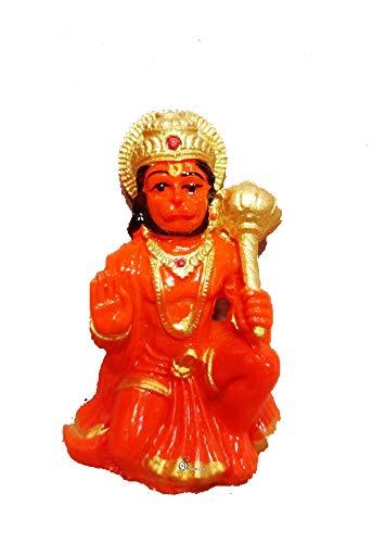 Spiritual Gifts Marble Hanuman Orange Idols for Car Dashboard   for Home Decor