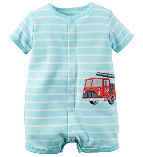 Carters Baby Boys 1-piece Appliqué Snap-up Cotton Romper (12 Months, Turquoise Firetruck)