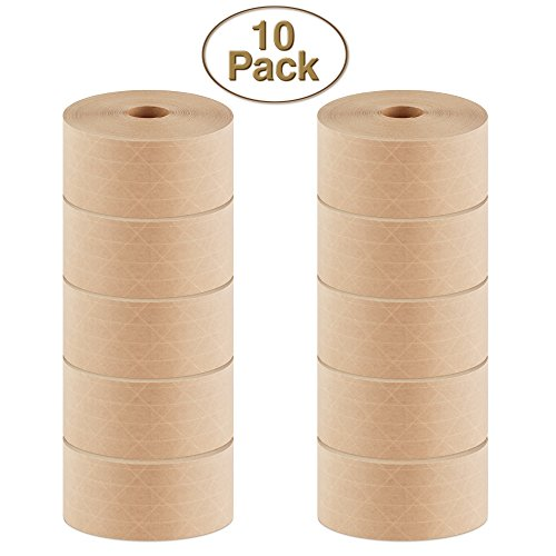 Crowell Reinforced Gummed Kraft Paper Tape by Intertape, Super Seal Natural 70mm (2.75 inches) x 450 Feet Roll, 10 Pack Case, for Commercial Box Packaging and Sealing Commercial Quality #233