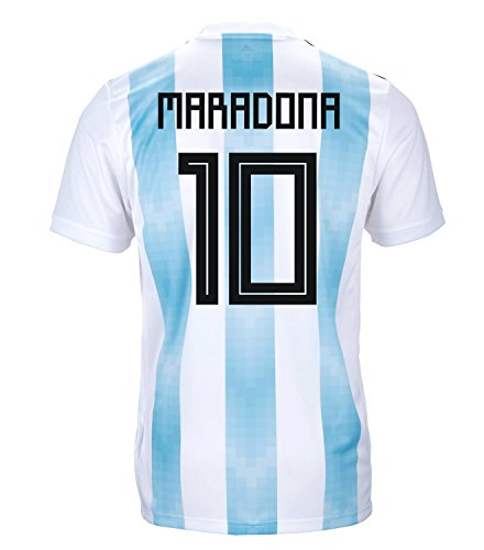 (adidas Maradona #10 Argentina Official Youth Home Soccer Jersey World Cup Russia 2018 (YL))