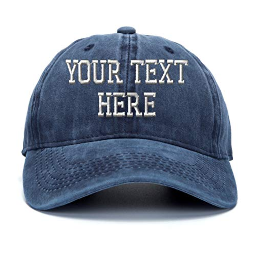 Custom Baseball Hat, Embroidered. Unisex Vintage Curved Bill Dad Cap Personalize Gifts Denim Navy