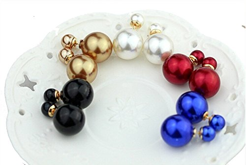 5pair Celebrity Style Double-faced Sided Front and Back Faux Simulated Bead Stud Earrings
