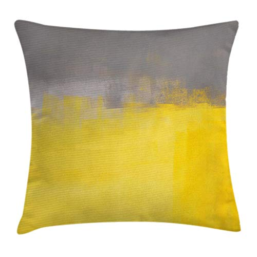 Ambesonne Grey and Yellow Throw Pillow Cushion Cover, Grunge Street Style Painting Brush Print Ombre Design Illustration, Decorative Square Accent Pillow Case, 18 X 18 Inches, Dimgray Yellow