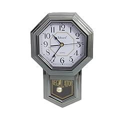 Silver Quartz Pendulum Wall Clock by Telesonic