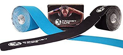 2 Pack Kinesiology Tape by Prodigy Athletic Muscle Support (1 Pre-cut & 1 Uncut Therapeutic Roll) Helps Brace Ankle, Knee, Shoulder, Back, Hamstring, Shin Splint, Elbow, Neck, Sports Injuries