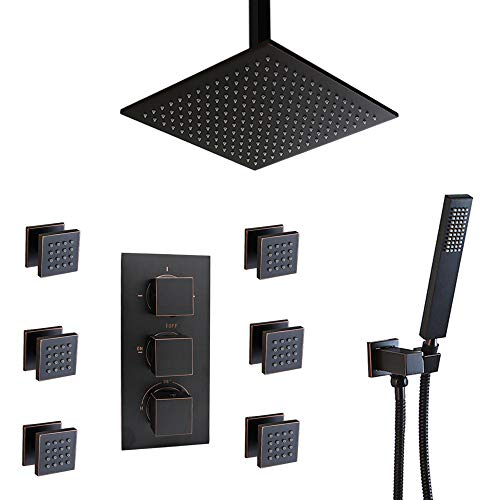 Homedec Thermostatic LED Ceil Mount 12 Inch Shower System with 6 Body Sprays And Brass Handheld Shower Head,Oil Rubbed Bronze