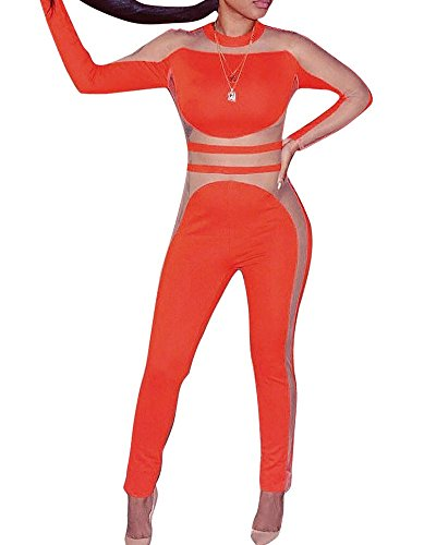 OLUOLIN Women's Gauze Splice Sportwear, Fitness High Waist Mesh Transparent Skinny Patchwork Leggings Push up Pants by OLUOLIN