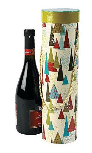 "Christmas Print Wine Boxes with Handles (3 pcs. per set) 14"" x 4""."