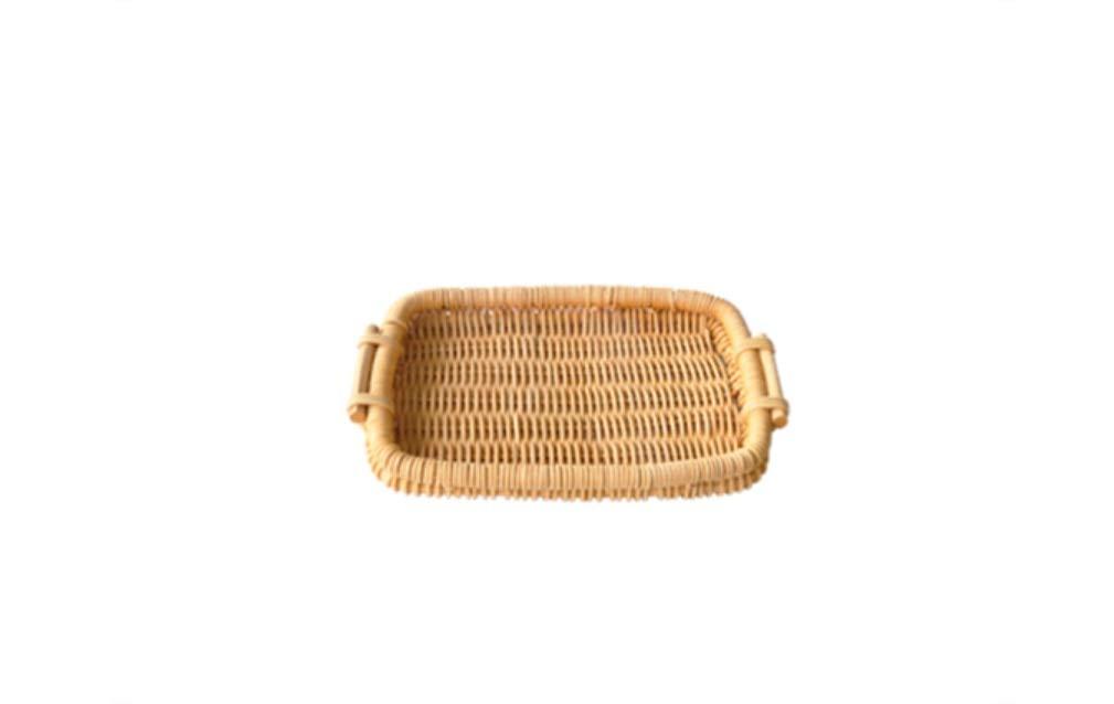 Handmade Straw Woven Storage Basket Bread Snack Fruit Basket Garden Tray Basket A:24.53cm B:19.727.73cm (Size : B)