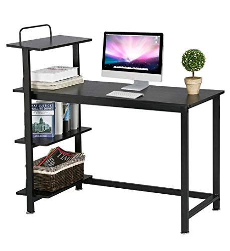 Yaheetech Home Computer Desk with 4 Tiers Shelves, Wooden Writing Desk PC Laptop Table Workstation with Bookshelves for Office (Black) ()