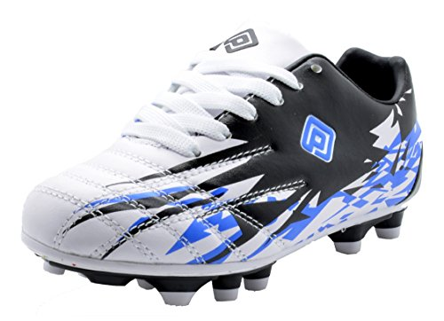 Dream Pairs 151027 Boy's Athletic Lace Up Outdoor/Indoor Light Weight Running Fashion Soccer Shoes (Toddler/Little Kid/Big Kid) WHITE-BLK-ROYAL SIZE 4 - Outdoor Soccer Cleats Youth