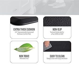 "The Original 3/4"" GORILLA GRIP Non-Slip Anti-Fatigue Comfort Mat, Ergonomically Engineered, Highest Quality Material, Non-Toxic, Waterproof"