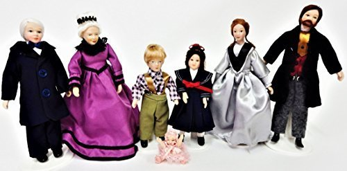 Melody Jane Dollhouse Victorian Family of 7 People Miniature Porcelain Figures