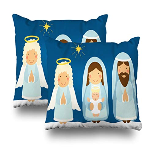 Geericy Set of 2 Decorative Throw Pillow Covers Cute Characters Nativity Scene Can Christmas School Play Banner Jesus and Cushion Cover 18X18 Inch for Bedroom Sofa