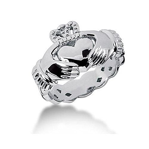 Men's Platinum Irish Claddagh Ring 104PLAT-MDR1011 - Size 8.25