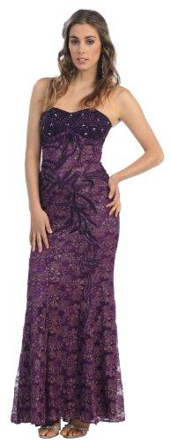 2009 Bridesmaid Dresses (Prom Dress New Elegant Long Gown #540 (16, Eggplant))
