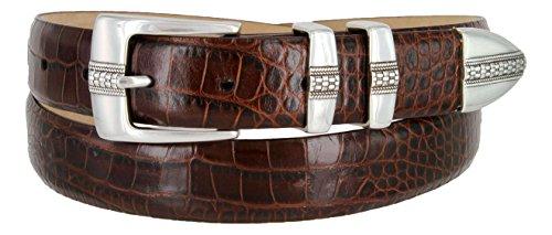 Brandon Italian Calfskin Leather Designer Dress Golf Belt for Men (40, Alligator Brown) (Brown Calfskin Belt)