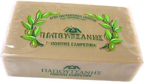 Papoutsanis Pure Greek Olive Oil Soap 4.4 Oz (125g) Bar (Oil Water Saponified Olive)