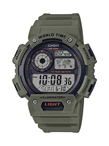 - Casio Men's Classic Quartz Resin Strap, Green, 26.88 Casual Watch (Model: AE-1400WH-3AVCF)