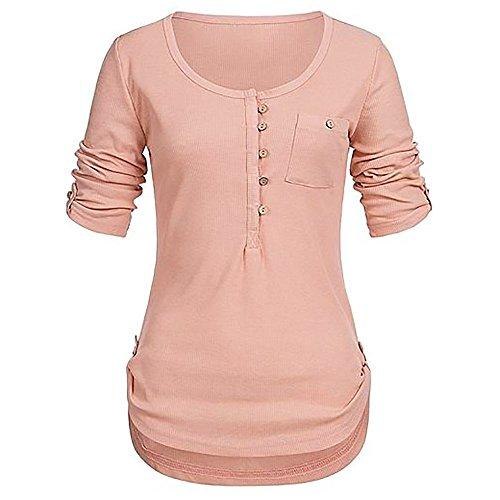 HIRIRI Women Scoop Round Neck Blouse Long Sleeve Button Vest Tee Shirt Short Sleeve Soft Sweatshirt Crop Tops Orange