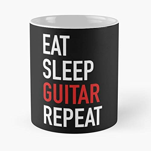 Eat Sleep Repeat Lifestyle Routine Guitar Bass Music Musician Recording Studio Instrument Best Gifts