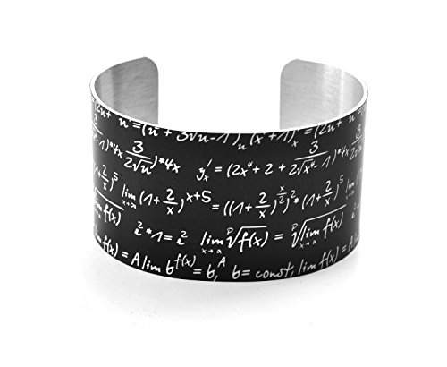 Neurons Not Included Math Bracelet - Math Equation Chalkboard Image - Aluminium Wide Geek Cuff