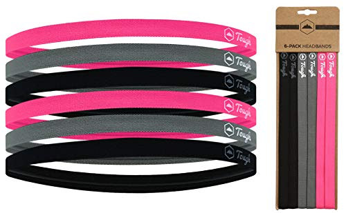 Athletic Sports Headbands - 6 Pack Thin Hair Bands for Men, Women, Boys & Girls - Elastic Head Bands with No Slip Silicone Grip - Ideal for Soccer, Running, Yoga (2 Black / 2 Gray / 2 Hot Pink)