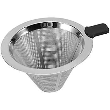 Reusable Coffee Dripper Filter Stainless Steel Pour Over Cone Double Layer Mesh Filter Paperless for Home Kitchen Coffee Shop Brewing Helper,12.5cm