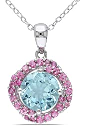 Sterling Silver Pink Tourmaline and Blue Topaz Flower Pendant 18''