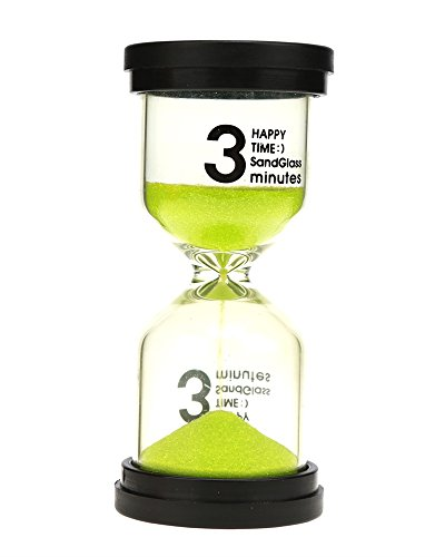 3 Minute Sand Timer Hourglass - Durable Safety Sand Timers VEOLEY Tooth Brushing 3 Minute Timer Transparent Acrylic Hourglass Colorful sand clock for Kids and Teens(Green)