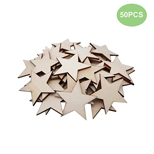 50PCS Natural Wooden Star, Unfinished Wood Ornaments, Christmas Star Hanging Ornaments, Little Star Cutout Shape, DIY Decorating Photo Props for Arts, Crafts & Sewing(50mm)