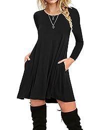 Women's Pockets Casual Plain T-Shirt Loose Dresses