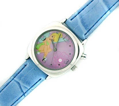 Amazon.com: Disney Tinker Bell Musical Watch with Silver Color Case, Pink Dial & Blue Leather Band: Disney: Watches
