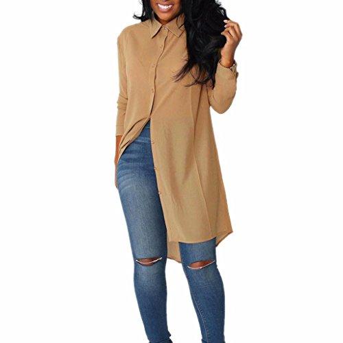 Blackobe Women Spring Summer Casual Long Shirt Long Sleeve Button-Down T-Shirt Blouse (XL, Khaki)
