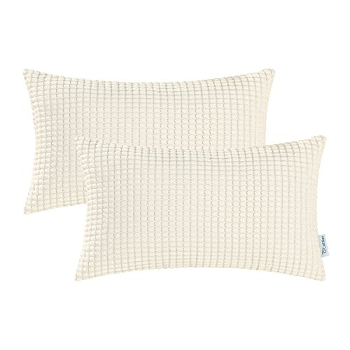 - CaliTime Pack of 2 Comfy Bolster Pillow Covers Cases for Couch Sofa Bed Comfortable Supersoft Corduroy Corn Striped Both Sides 12 X 20 Inches Cream