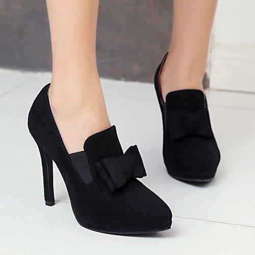 Carolbar Femmes Bout Pointu Sexy Chic Arcs Talons Hauts Pompes Chaussures Noir