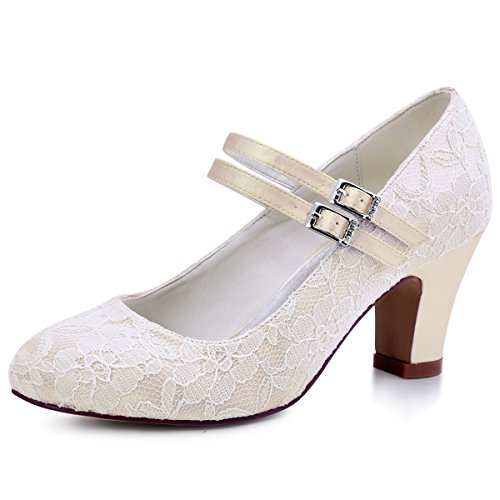 ElegantPark HC1701 Women Pumps Chunky Heel Mary Jane Closed Toe Lace Bridal Wedding Shoes Champagne US 8