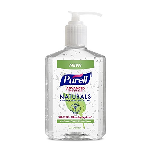 PURELL Naturals Advanced Hand Sanitizer - Hand Sanitizer Gel with Essentails Oils, 12 fl oz Bottle (Case of 12) - 9629-12