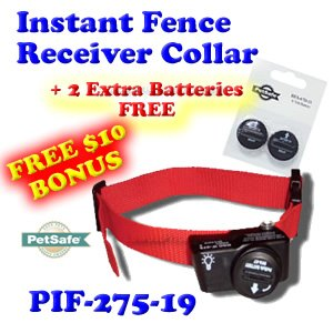 Petsafe Pif 275 - PetSafe PIF-275-19 Wireless Fence Dog Collar with 2 Free Batteries, 10 x 9 x 4